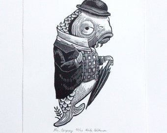 Fish Alice in Wonderland Inspired Print - Original Wood Engraving - Limited edition - Fine Art