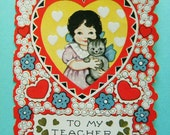 Vintage Unused Valentine's Day Card to Teacher Little Girl with Kitty
