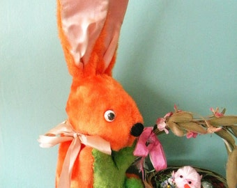 Vintage Orange and Green Easter Bunny Plush Rabbit Made by Jee-bee