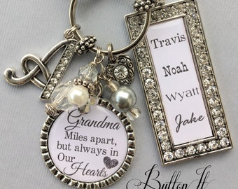 GRANDMA gifts, Personalized grandma gift, Aunt gift,  Miles apart but always in my heart, LONG distance relationship, Valentine gift initial