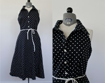 Polka Dot Dress • 80s Sundress • Black and White Polka Dot Dress • Halter Dress • Summer Dress • Bare Shoulder Dress • 80s Sailor Dress