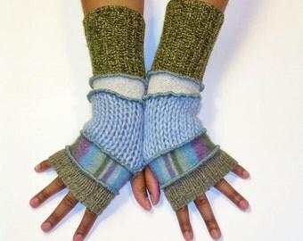 Fingerless Gloves, Arm Warmers, Patchwork Gloves (Sage/Stripe/Light Blue/Pale Grey/Olive Tweed)