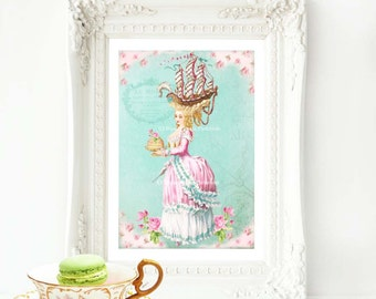 Marie Antoinette print, wall decor, Coiffure, sailing ship, pink roses, blue, home decor, French decor, high tea print, let them eat cake