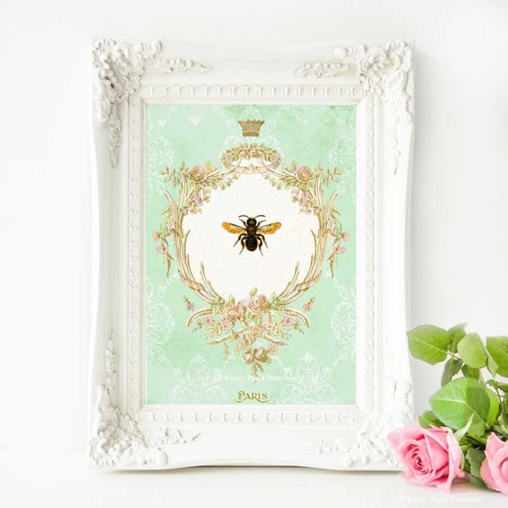 Bee Print Home Decor Mint Green Gold French By Cafebaudelaire