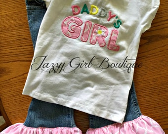 Appliqued Shirt Outfit Daddy's Girl with Matching Ruffled Bottom Jeans Mommy's Angel Also Available