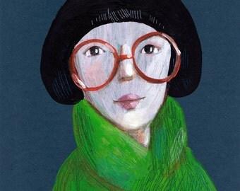 Portrait with glasses     Original Painting