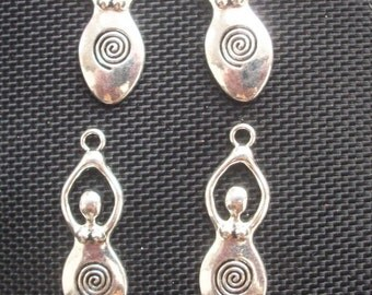 6 Goddess Gaia Spiral Fertility Pendants Flat 40mm
