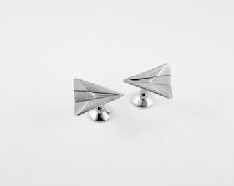 3D Printed Silver Paper Airplane Cufflinks,Paper Anniversary Gift for Him,Wedding Cufflinks,First Anniversary Gift,Groomsmen Gift,Cufflinks