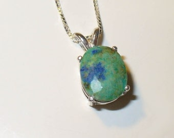 Faceted Chrysocolla Pendant - Genuine Natural Gemstone in Solid Sterling Silver