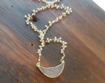 Crescent Drusy Moon Pendant Moonstone Petite Dangle Stone Necklace