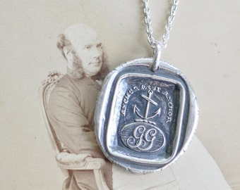 anchor wax seal necklace ... anchor fast anchor - initials GG - Gray surname ~ Gray family - silver antique Scottish wax seal jewelry