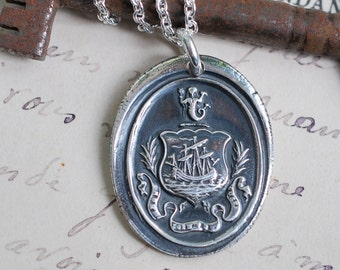 ship and mermaid wax seal necklace pendant ... the sentinel sleeps not - French motto fine silver antique wax seal jewelry