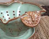 Ceramic Colander or Berry Bowl, Large Strainer Kitchen Colander with Bees and Flowers Glazed in Green and Brown, Kitchenware