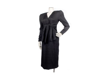 Vintage 80s Dress - Oscar de la Renta - Black Silk Dress - Oscar de la Renta Dress- 80s Oscar de la Renta - Shoulder Pads - Dynasty - NWT