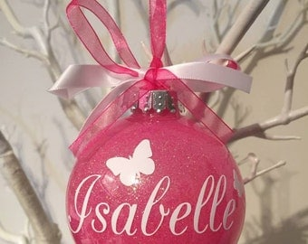Personalised Butterfly Christmas Bauble