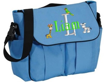 Diaper Bag Personalized Blue, Messenger Bag, Embroidered