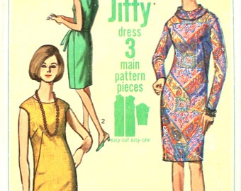 Jiffy Dress with Back Tie Collar Bust 32 Simplicity 6437 Sewing Pattern