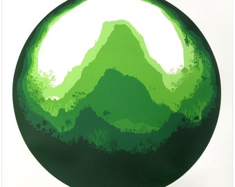 Mighty Mountain - screen print - nature - forest