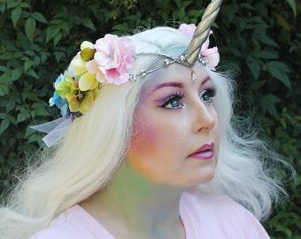 Unicorn Crown, Unicorn Headpiece, Unicorn Headdress, Rainbow, Holographic