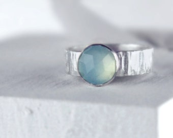 Aqua Chalcedony Stacking Silver Ring, Faceted Gemstone, Ripple Texture Wide Band