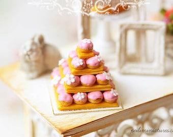 Miniature Food - Dollhouse Pink Profiterole Wedding Cake - Dollhouse Miniature Wedding Cake