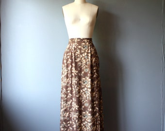 vintage floral skirt / 90s rayon maxi skirt / brown floral skirt / M