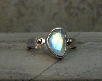 Faceted Rainbow Moonstone Ring - Mixed Metals Moonstone Statement Ring - Sterling Silver and Bronze - Moon Stone Ring - Size 6.5