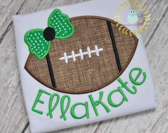Football with Bow - appliqué shirt - embroidered - Sports -  Team - toddler - babies - Baby 12 mo 2t 3t 4t 5t 6t