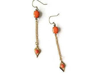 Long Coral Earrings - Burnt Orange Earrings - Orange and Gold Earrings - Art Deco Style - Seymour (SD1117)