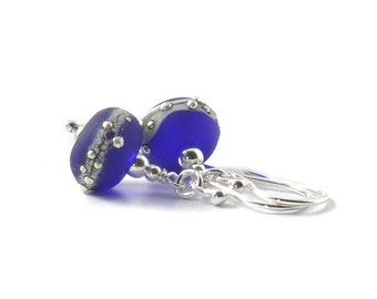 Cobalt Blue Earrings | Navy Blue and Silver Drop Earrings | Blue Lampwork Glass Earrings | Artisan Glass and Sterling Silver | UK