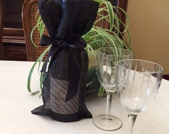 Sheer black Wine Wrap/Wine Bag with diagonal glitter lines