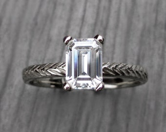 Emerald Moissanite Feather Engagement Ring: White, Yellow, or Rose Gold; 1ct Forever Brilliant ™