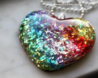 Festival Fashion, Resin Rainbow Heart Shaped Pendant Necklace, Huge Chunky Kawaii Glitter Rave Summer Jewelry Kawaii Heart Charm by isewcute