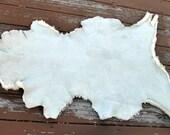 Sheepskin Shearling Leather Hide Off White Sheep Skin  - Silky Haired