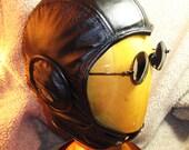 Black Leather Retro Aviator Hat (37)