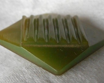 Square VINTAGE Carved Green Bakelite BUTTON