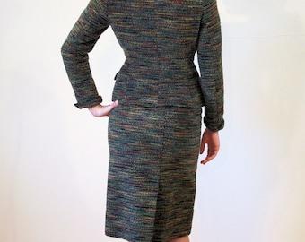Copenhagen Caper, 50s Skirt Suit, Danish Designer Skirt Suit, Vintage Suit, Textured Wool Skirt Suit, Euro Bombshell Outfit, S Small
