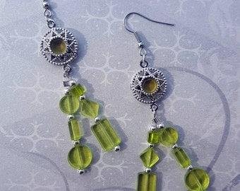 SALE - Silver  and Green Peridot Lime Dangle Earrings - Bella Mia Beads - READY to SHIP