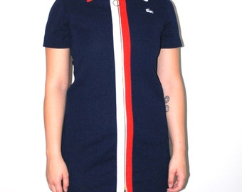 70s LACOSTE tennis dress 1970s vintage mod union label designer zip up dress medium
