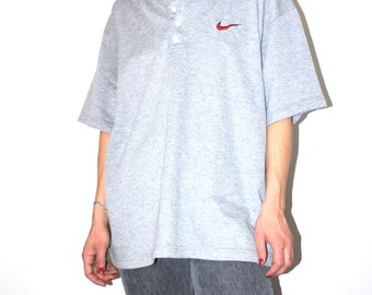Nike henley shirt 90s grunge vintage grey ribbed button up athletic tee tshirt medium
