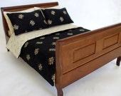 Dollhouse Miniature Custom Dressed Sleigh Bed - 1/12th Scale