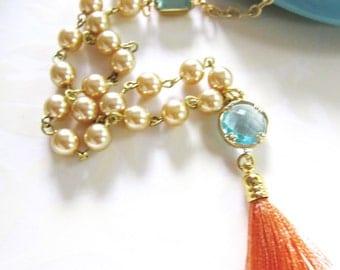 Tassel Necklace, Bohemian Pearl Necklace, Aqua Glass, Boho Beaded Necklace, Pearl Pendant Necklace. Turquoise Glass, Gardendiva Jewelry