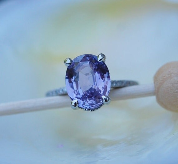 Platinum engagement Ring. Blake Lively ring. Purple Sapphire Ring. Plum Oval Sapphire 4.4ct