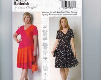 Misses Sewing Pattern Butterick B6222 6222 Misses Asymmetrical Loose Fitting Dress Size 3 4 6 8 10 12 14 16 Bust 34-45 MULTISIZE UNCUT