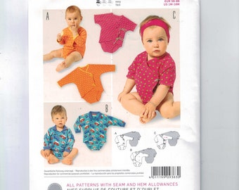Sewing Pattern Burda 9383 Easy Baby Wrapped Long Sleeve Onesie Onsie Size Newborn 3 6 9 12 18 Months UNCUT
