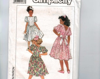 1990s Vintage Sewing Pattern Simplicity 9574 Girls Below Knee Puff Sleeve Party Dress Size 7 8 10 12 14 Breast 26-32 UNCUT 1990