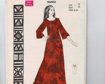 1960s Vintage Sewing Pattern Polynesian Pattern 192 Misses Nohea Maxi Dress Hawaiian Size 12 bust 34 60s