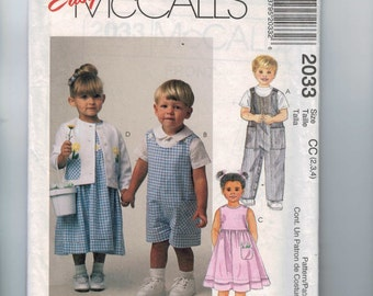 Kids Sewing Pattern McCalls 2033 Girls and Boys Romper Jumper Dress Shirt Jacket with Flower Applique  Size 2 3 4 Breast 21 22 23 UNCUT  99