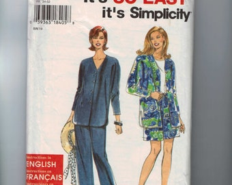 1990s Vintage Misses Sewing Pattern Simplicity 9868 Misses Easy Loose Fitting Top Pants Shorts Size 6 8 10 12 14 16 18 20 22 24 UNCUT  99