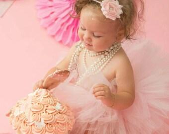 Pink Chiffon Shabby Flower Headband, Baby Girl Headband, Pink Headband, Baby Headband, Newborn Headband, First Birthday Headband, Flower
